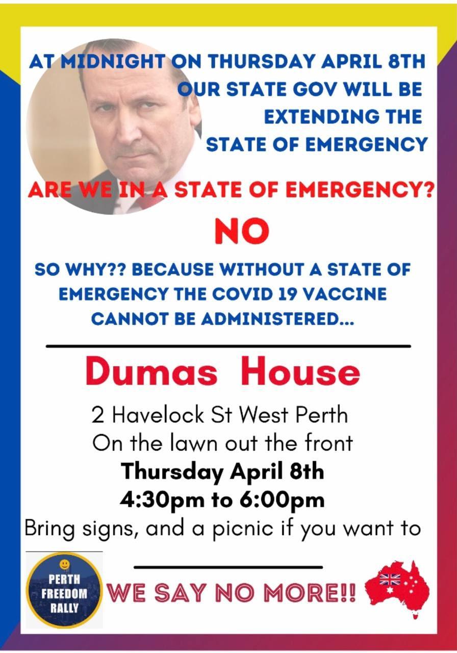 Perth Protest, Dumas House, 8 April 2021